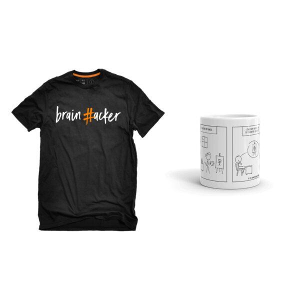 1 μπλουζάκι #brainhacker και 1 κούπα